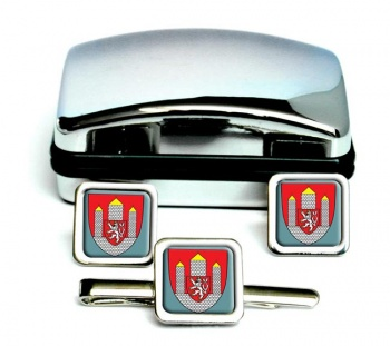 Ceske Budejovice Square Cufflink and Tie Clip Set