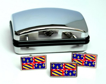 Bourgogne Burgundy (France) Flag Cufflink and Tie Pin Set