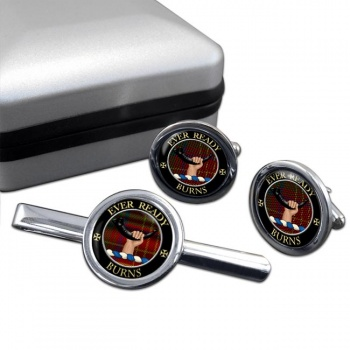 Burns Scottish Clan Round Cufflink and Tie Clip Set