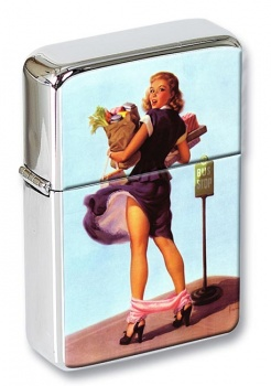 Bus Stop Pin-up Girl Flip Top Lighter