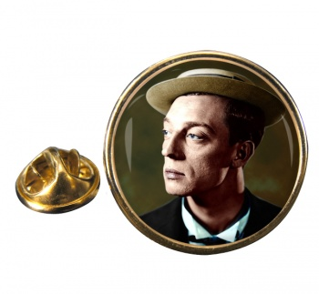 Buster Keaton Round Pin Badge