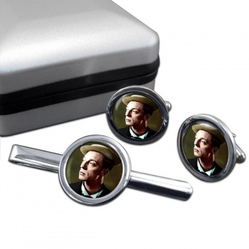 Buster Keaton Round Cufflink and Tie Clip Set