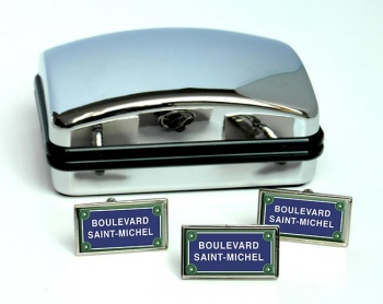 Boulevard Saint-Michel Rectangle Cufflink and Tie Pin Set