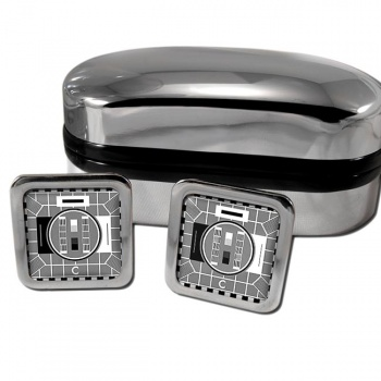 Black and White Telly Square Cufflinks