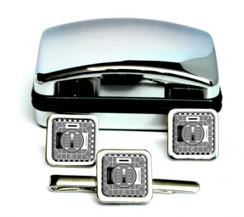 Black and White Telly Square Cufflink and Tie Clip Set
