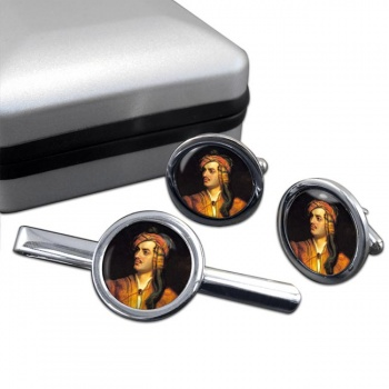 Lord Byron Round Cufflink and Tie Clip Set