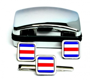 Charlie Affirmative Distress Flag Square Cufflink and Tie Clip Set