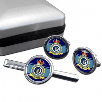 RAF Station Calshot Round Cufflink and Tie Clip Set