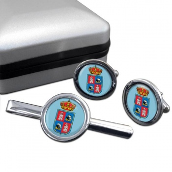 Campeche (Mexico) Round Cufflink and Tie Clip Set