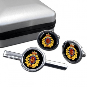 12e Re�giment blinde� du Canada (Canadian Army) Round Cufflink and Tie Clip Set