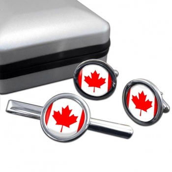 Canada Round Cufflink and Tie Clip Set