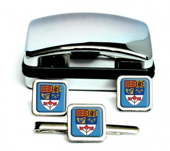 Canada Coat of Arms Square Cufflink and Tie Clip Set
