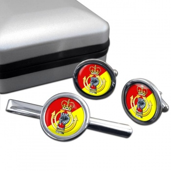 Royal Canadian Armoured Corps Round Cufflink and Tie Clip Set