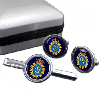 Communications and Electronics Branch (Canadian Army) Round Cufflink and Tie Clip Set