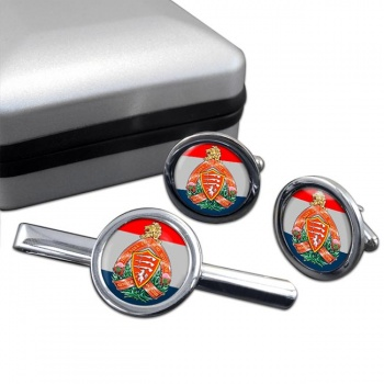 Essex and Kent Scottish (Canadian Army) Round Cufflink and Tie Clip Set