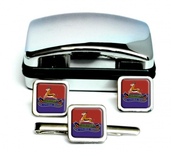 Royal Canadian Dragoons Square Cufflink and Tie Clip Set