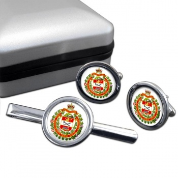 Lord Strathcona's Horse (Royal Canadians) Round Cufflink and Tie Clip Set