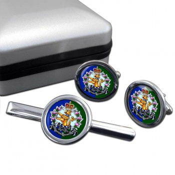 Lorne Scots (Peel Dufferin and Halton Regiment) Canadian Army Round Cufflink and Tie Clip Set