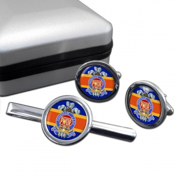 Princess of Wales' Own Regiment (Canadian Army)  Round Cufflink and Tie Clip Set