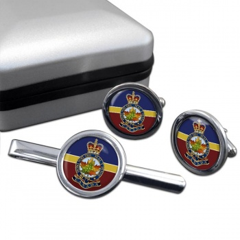 Royal Montreal Regiment (Canadian Army)  Round Cufflink and Tie Clip Set