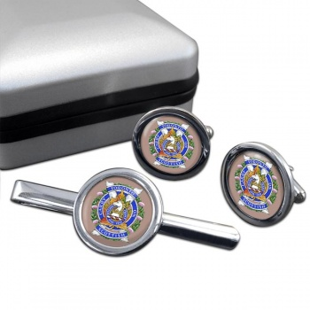 Toronto Scottish Regiment (Queen Elizabeth The Queen Mother's Own) Canadian Army Round Cufflink and Tie Clip Set
