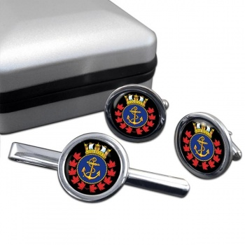 Royal Canadian Sea Cadets Round Cufflink and Tie Clip Set