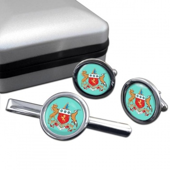 Cape Colony (South Africa) Round Cufflink and Tie Clip Set