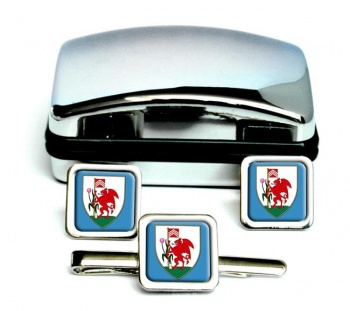 Cardiff-Square Cufflink and Tie Clip Set