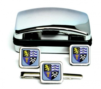 Cardiganshire Ceredigion-Square Cufflink and Tie Clip Set