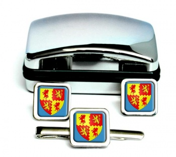 Carmarthenshire-Square Cufflink and Tie Clip Set