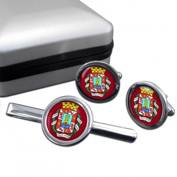 Cartagena (Spain) Round Cufflink and Tie Clip Set