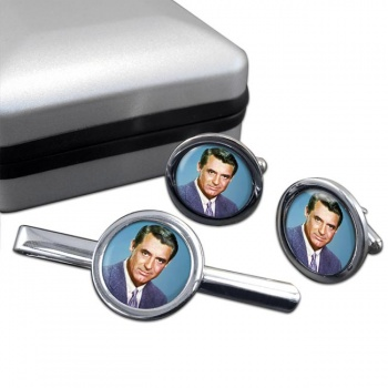 Cary Grant Round Cufflink and Tie Clip Set