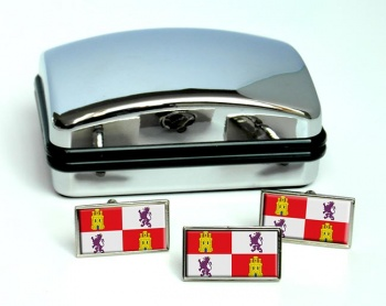 Castile and Leon Castilla y Leon (Spain) Flag Cufflink and Tie Pin Set