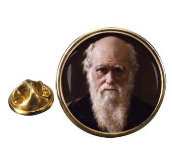 Charles Darwin Round Pin Badge