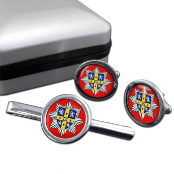 Co. Durham & Darlington Fire & Rescue Service Round Cufflink and Tie Clip Set