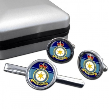 RAF Station Changi Round Cufflink and Tie Clip Set