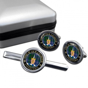 Charteris Scottish Clan Round Cufflink and Tie Clip Set