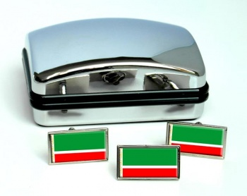 Chechnya Flag Cufflink and Tie Pin Set