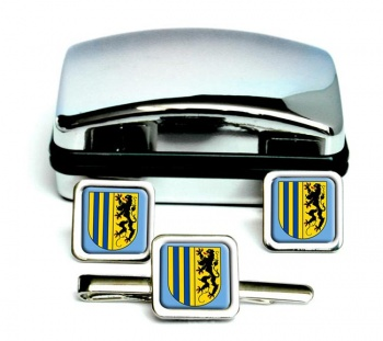 Chemnitz (Germany) Square Cufflink and Tie Clip Set
