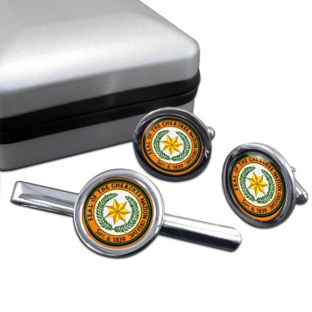Cherokee Nation (Tribe) Round Cufflink and Tie Clip Set