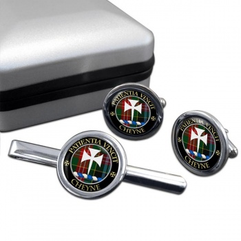 Cheyne Scottish Clan Round Cufflink and Tie Clip Set