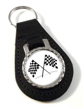 Chequered Flags Leather Key Fob