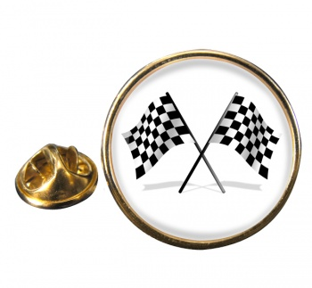 Chequered Flags Round Pin Badge