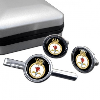 Commando Helicopter Force Royal Marines Round Cufflink and Tie Clip Set