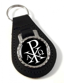 Chi-Rho Alpha Omega  Leather Keyfob