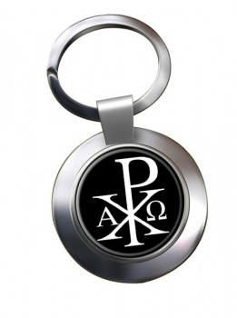 Chi-Rho Alpha Omega  Leather Chrome Key Ring