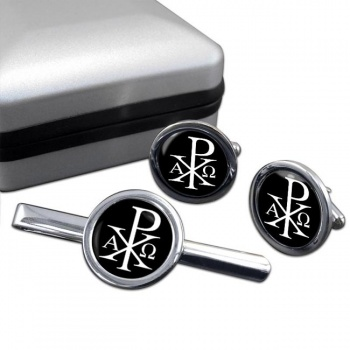 Chi-Rho Alpha Omega  Round Cufflink and Tie Bar Set