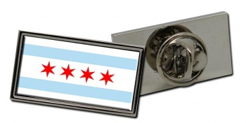 Chicago IL  Flag Pin Badge