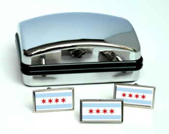 Chicago IL  Flag Cufflink and Tie Pin Set
