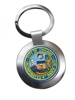 Chicago IL  Metal Key Ring